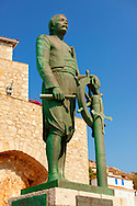 Statue of Admiral Andreas Miaoulis, leader of the fleet in the 1821 Greek Revolution of Indipendance, Hyrda,  Greek Saronic Islands .<br /> <br /> Visit our GREEK HISTORIC PLACES PHOTO COLLECTIONS for more photos to download or buy as wall art prints https://funkystock.photoshelter.com/gallery-collection/Pictures-Images-of-Greece-Photos-of-Greek-Historic-Landmark-Sites/C0000w6e8OkknEb8