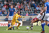 Bradford City forward Charlie Wyke (9)  scores to make it 1-1 goal during the EFL Sky Bet League 1 match between Rochdale and Bradford City at Spotland, Rochdale, England on 21 April 2018. Picture by Mark Pollitt.