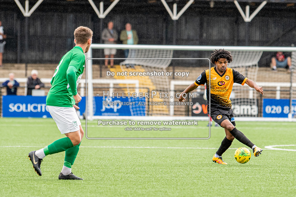 BROMLEY, UK - SEPTEMBER 22: Bradley Pritchard, of Cray Wanderers FC, during the Emirates FA Cup Second Round Qualifier match between Cray Wanderers and Soham Town Rangers at Hayes Lane on September 22, 2019 in Bromley, UK. <br /> (Photo: Jon Hilliger)