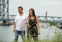 Jubee and Dan engagement session at Memorial Bridge, Portsmouth, NH.  ©2020 Karen Bobotas Photographer
