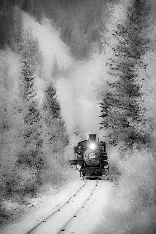 Artistic rendering of the Durango & Silverton Narrow Gauge Railroad steam train in the Animas River Canyon in Southwest Colorado.