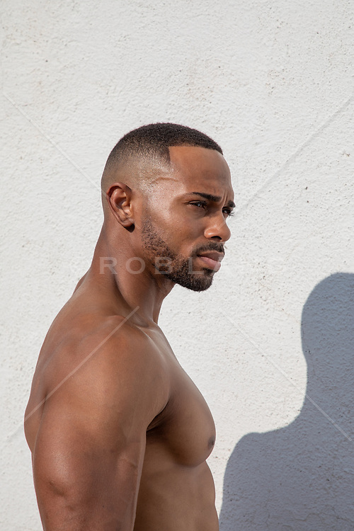 hot shirtless muscular black man