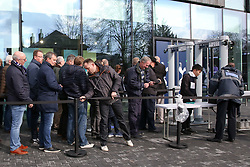 © Licensed to London News Pictures. 03/04/2019. London, UK. Spurs fans pass through security barriers at their £400 million new stadium as Tottenham Hotspurs play their first competitive game against Crystal Palace this evening. Photo credit: Dinendra Haria/LNP