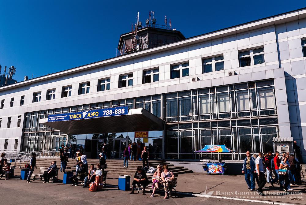 Russia, Sakhalin, Yuzhno-Sakhalinsk. The airport terminal.