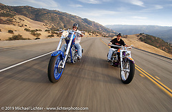 Arlen Ness riding his Gibson Bike alongside his son Cory on his 3-cylinder Biker Build-off 3-Headed Monster custom. Livermore Hills, CA. 2004. Photograph ©2004 Michael Lichter