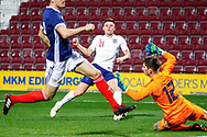 Harvey Barnes England U21s (West Bromwich Albion, loan from Leicester City) tries to test keeper Ross Doohan Scotland U21s (Celtic - On Loan to Ayr United) during the U21 UEFA EUROPEAN CHAMPIONSHIPS match Scotland vs England at Tynecastle Stadium, Edinburgh, Scotland, Tuesday 16 October 2018.
