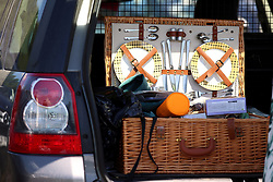 A picnic hamper is seen in the boot of a car during day four of Royal Ascot at Ascot Racecourse