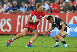 Harry Jones of Canada in action<br /> <br /> Photographer Craig Thomas/Replay Images<br /> <br /> World Rugby HSBC World Sevens Series - Day 2 - Friday 6rd December 2019 - Sevens Stadium - Dubai<br /> <br /> World Copyright © Replay Images . All rights reserved. info@replayimages.co.uk - http://replayimages.co.uk