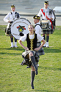 West Point, New York - A dancer from the United States Corps of Cadets Pipes & Drums performs at the 32nd annual West Point Military Tattoo at Trophy Point at the United States Military Academy on April 13, 2014. The United States Corps of Cadets Pipes & Drums is a bagpipe, drum, and dance ensemble.
