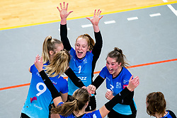 Team Zwolle with Daantje Vennik of Zwolle, Bjorn Gras of Zwolle celebrate in action during the first league match between Djopzz Regio Zwolle Volleybal - Laudame Financials VCN on February 27, 2021 in Zwolle.