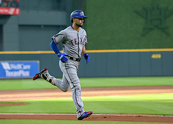 July 28, 2018 - Houston, TX, U.S. - HOUSTON, TX - JULY 28:  Texas Rangers catcher Isiah Kiner-Falefa (9) scores a home run in the top of the second inning during the baseball game between the Texas Rangers and Houston Astros on July 28, 2018 at Minute Maid Park in Houston, Texas.  (Photo by Leslie Plaza Johnson/Icon Sportswire) (Credit Image: © Leslie Plaza Johnson/Icon SMI via ZUMA Press)
