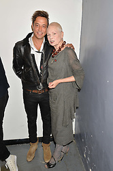 DAME VIVIENNE WESTWOOD and JAMIE HINCE at the OFFtheGRID event - a solar-powered party on a London rooftop to support our renewable energy future hosted by Dame Vivienne Westwood supported by the Trillion Fund at 151-155 New North Road, London N1 on 4th September 2014.