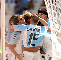 28/08/04 - ATHENS - GREECE -  - OLYMPIC FOOTBALL - FINAL MATCH - MENS  -  At the Olympic Stadium in Athens<br />ARGETNINA (1) win over PARAGUAY (0).<br />Argentine player N* 10 CARLOS TEVEZ goal celebration with ANDRES D'ALESSANDRO - COLOCCINI - LUCHO GONZALEZ and others teammaters.<br />© Gabriel Piko / Argenpress.com / Piko-Press