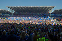 Football - 2017 / 2018 Sky Bet Championship - Cardiff City vs. Reading<br /> <br /> Cardiff City fans invade the pitch to celebrate promotion to the Premier League , at Cardiff City Stadium.<br /> <br /> COLORSPORT/WINSTON BYNORTH