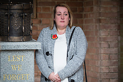 © Licensed to London News Pictures . 29/03/2015 . Manchester , UK . Lee's Mother Lyn Rigby . A bronze drum , in memory of Fusilier Lee Rigby , is unveiled in Middleton Memorial Gardens , North Manchester at a memorial service in his honour . Rigby was murdered in a terrorist attack in Woolwich in May 2013 . Photo credit : Joel Goodman/LNP