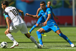 June 22, 2018 - Saint Petersburg, Russia - Bryan Ruiz (L) of the Costa Rica national football team and Casemiro of the Brazil national football team vie for the ball during the 2018 FIFA World Cup match, first stage - Group E between Brazil and Costa Rica at Saint Petersburg Stadium on June 22, 2018 in St. Petersburg, Russia. (Credit Image: © Igor Russak/NurPhoto via ZUMA Press)