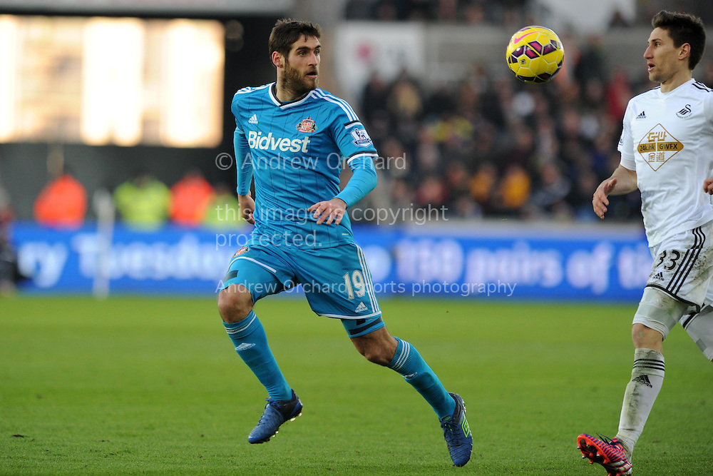 Danny Graham of Sunderland in action.  Barclays premier league match, Swansea city v Sunderland at the Liberty stadium in Swansea, South Wales on Saturday 7th Feb 2015.<br /> pic by Andrew Orchard, Andrew Orchard sports photography.