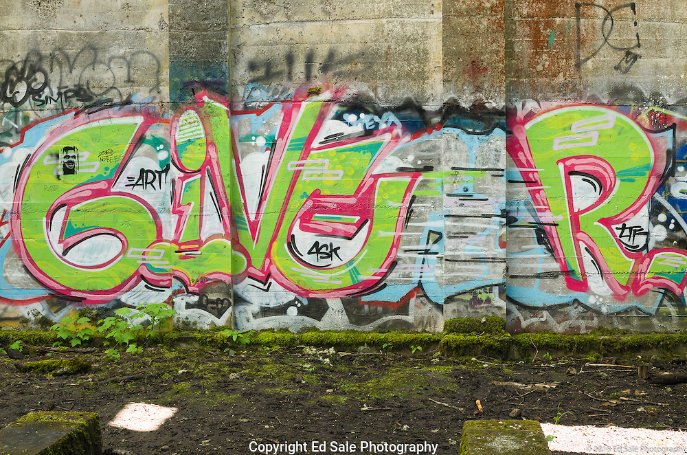 Street art painting in old mill building in Vernonia, Oregon