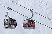 SOELDEN, AUSTRIA. OCTOBER 17 2020:  1st Women's Giant Slalom as part of the Alpine Ski World Cup in Solden on October 17, 2020; Run 2, skiers in cable cars ( Pierre Teyssot/ESPA Images-Image of Sport)