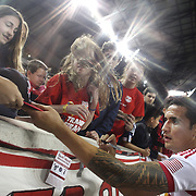 Tim Cahill, New York Red Bulls, signs autographs after the New York Red Bulls Vs Chicago Fire, Major League Soccer regular season match won 5-4 by the Chicago Fire at Red Bull Arena, Harrison, New Jersey. USA. 10th May 2014. Photo Tim Clayton
