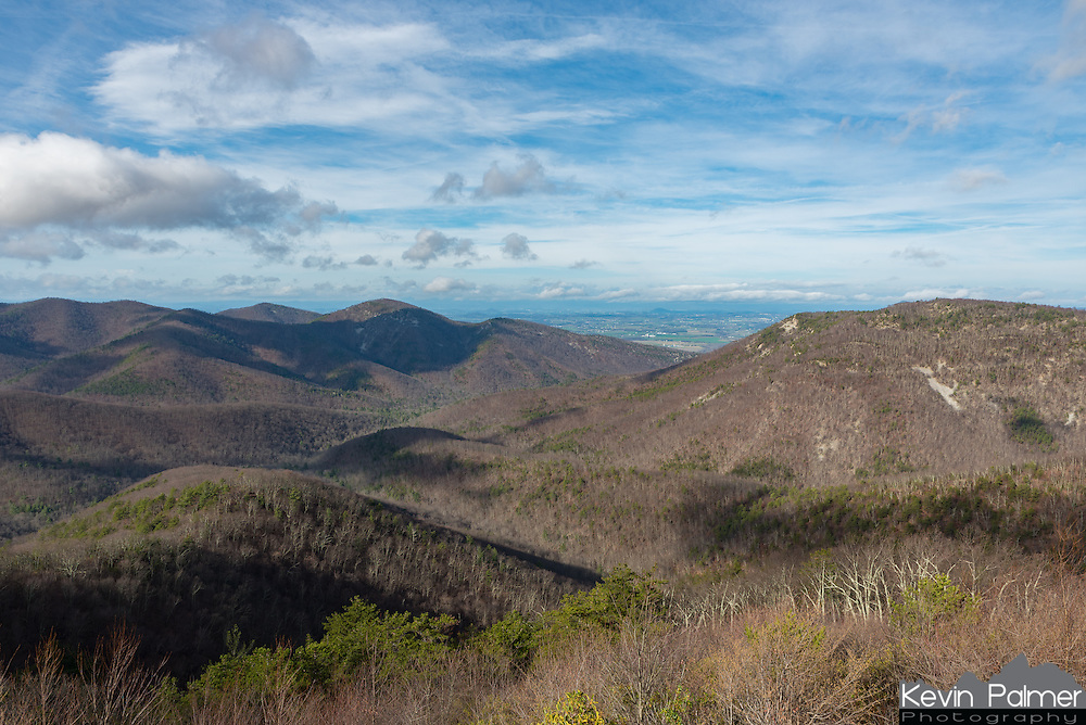 Rocky Top is the high ridge to the left and Brown Mountain is on the right. This view is from one of the overlooks on Skyline Drive.