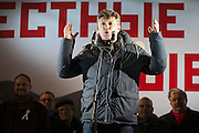 Moscow, Russia, 05/03/2012..Opposition leader Boris Nemtsov addresses some 20,000 people protesting in and around Pushkin Square against Vladimir Putin's victory in the Russian presidential election.