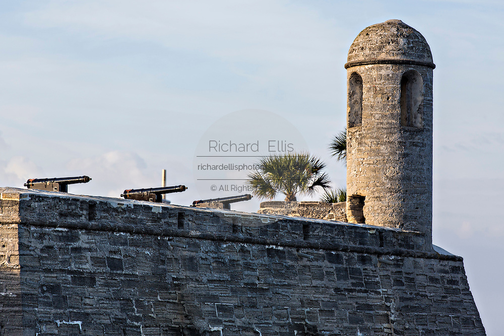 Cannons along the walls of Castillo de San Marcos in St. Augustine, Florida. St Augustine is the oldest city in America.