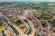 Nederland, Zeeland, Walcheren, 09-05-2013; overzicht Middelburg met links Kanaal door Walcheren.<br /> Capital of the province of Zealand. <br /> luchtfoto (toeslag op standard tarieven)<br /> aerial photo (additional fee required)<br /> copyright foto/photo Siebe Swart