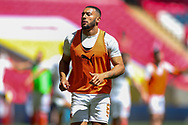 Blackpool Forward Keshi Anderson (8) in the pre match warm up during the EFL Sky Bet League 1 Play-Off Final match between Blackpool and Lincoln City at Wembley Stadium, London, England on 30 May 2021.