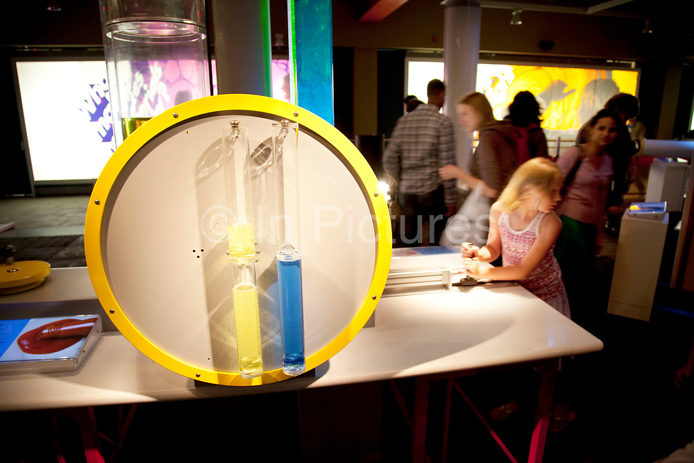 Visitors of all ages play with interactive games, objects and exhibits. Each one making a scientific point. The Science Museum, London. The Science Museum was founded in 1857 with objects shown at the Great Exhibition of 1851. Today the Museum is world renowned for its historic collections, awe-inspiring galleries and inspirational exhibitions.