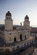 Catedral Basílica de Nuestra Señora de la Asunción / Cathedral Basilica of Our Lady of the Assumption, also called Santiago de Cuba Cathedral, exterior shot at dusk. Santiago de Ciba. .