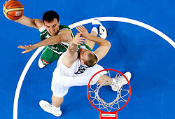 Mirza Begic of Slovenia vs Ilunga Mbenga of Belgium during basketball match between National teams of Belgium and Slovenia in Group D of Preliminary Round of Eurobasket Lithuania 2011, on September 4, 2011, in Arena Svyturio, Klaipeda, Lithuania.  (Photo by Vid Ponikvar / Sportida)