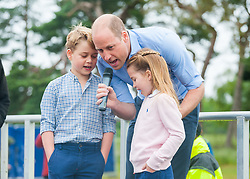 EXCLUSIVE ***PREMIUM RATES ONLY***NO BYLINE*** Prince William with Prince George and Princess Charlotte at the start of a half marathon on the Sandringham Estate, Sandringham, Norfolk, June 20.<br /> <br /> 20 June 2021.<br /> <br /> UK clients should be aware children's faces may need pixelating.