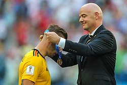 July 14, 2018 - Saint Petersburg, Russia - Toby Alderweireld (L) of Belgium receives his medal from FIFA President Gianni Infantino after the 2018 FIFA World Cup Russia 3rd Place Playoff match between Belgium and England at Saint Petersburg Stadium on July 14, 2018 in St. Petersburg, Russia. (Credit Image: © Igor Russak/NurPhoto via ZUMA Press)
