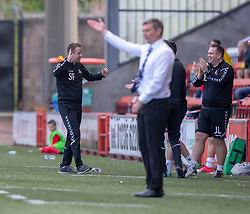 Airdrie's manager Steve Findlay after Airdrie's Dale Carrick scored the second goal. half time : Airdrie 2 v 0 Raith Rovers, Scottish Football League Division One played 25/8/2018 at the Excelsior Stadium.