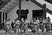 Traditional maori ceremony in front of Marai meeting house, New Zealand