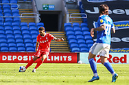 Nottingham Forest's Cyrus Christie (2) looks to pass forward during the EFL Sky Bet Championship match between Cardiff City and Nottingham Forest at the Cardiff City Stadium, Cardiff, Wales on 2 April 2021.