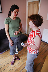 Mother and daughter having a discussion,