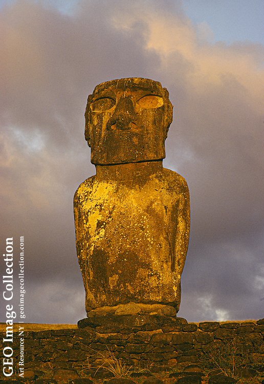 Close view of a moai on Easter Island.