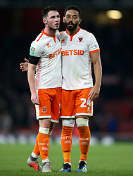 Blackpool's Liam Feeney (right) and Jordan Thompson after the Carabao Cup, Fourth Round match at the Emirates Stadium, London.