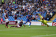 John Terry, the Aston Villa captain (l) looks on dejected as Nathaniel Mendez-Laing of Cardiff city © starts to celebrate after he scores his teams 3rd goal  EFL Skybet championship match, Cardiff city v Aston Villa at the Cardiff City Stadium in Cardiff, South Wales on Saturday 12th August 2017.<br /> pic by Andrew Orchard, Andrew Orchard sports photography.