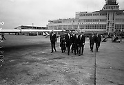 26/07/1967<br /> 07/26/1967<br /> 26 July 1967<br /> Taoiseach departs Dublin Airport for talks in Brussels. Taoiseach Jack Lynch left for Brussels where he would hold talks with regard to Ireland's application for membership of the Common Market accompanied by Mr. Hugh McCann, Secretary, Department of External Affairs. Picture shows the Taoiseach accompanied by his party and Belgian Ambassador Dr. Francis-Leo Goffert and Mr. M.J. Morgan, General Manager of Aer Lingus.