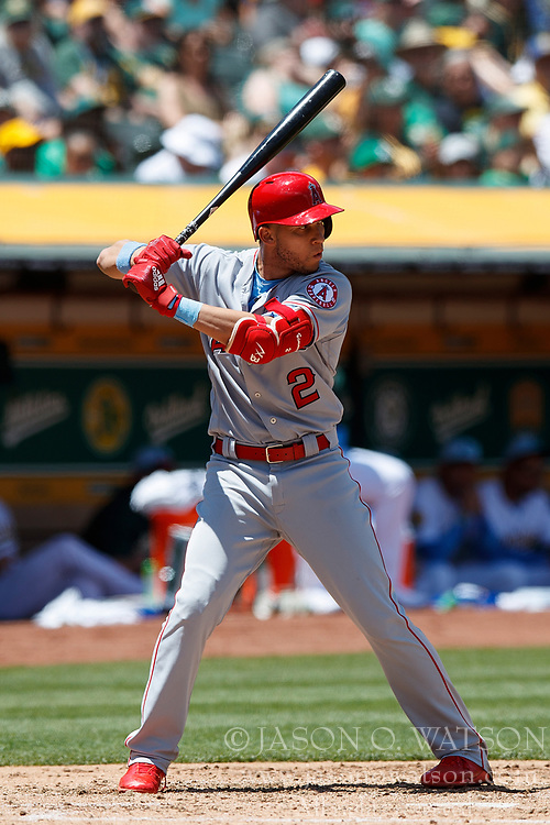 OAKLAND, CA - JUNE 17: Andrelton Simmons #2 of the Los Angeles Angels of Anaheim at bat against the Oakland Athletics during the fourth inning at the Oakland Coliseum on June 17, 2018 in Oakland, California. The Oakland Athletics defeated the Los Angeles Angels of Anaheim 6-5 in 11 innings. (Photo by Jason O. Watson/Getty Images) *** Local Caption *** Andrelton Simmons