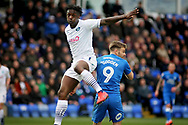 Wycombe defender Anthony Stewart (5) gets this one clear during the EFL Sky Bet League 1 match between Peterborough United and Wycombe Wanderers at London Road, Peterborough, England on 2 March 2019.