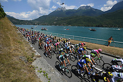 July 17, 2018 - Le Grand Bornand, FRANCE - Illustration picture shows the pack of riders in action during the tenth stage in the 105th edition of the Tour de France cycling race, 112.5 km from Annecy to Le Grand Bornand, France, Tuesday 17 July 2018. This year's Tour de France takes place from July 7th to July 29th...BELGA PHOTO DAVID STOCKMAN (Credit Image: © David Stockman/Belga via ZUMA Press)