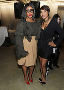 """NEW YORK, NEW YORK-FEBRUARY 13: (L-R) Claire Sumner, Fashion Bomb Daily and Designer Aisha McShaw attend """" CAPTURED"""" the Fall/Winter Collection 2019 presented by Designer Aisha McShaw during New York Fashion Week and held at the Gallery at Prince George Ballroom on February 11, 2019 in New York City.  (Photo by Terrence Jennings/terrencejennings.com)"""