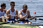 20040814 Olympic Games Athens Greece [Rowing]<br /> Photo  Peter Spurrier .<br /> GBR M4- Bow Steve Williams, 2. James Cracknell, 3. Ed Coode and Matt Pinsent. <br /> <br /> Matt Pinsent indicates to the boat holder,  everything is correct. <br /> <br /> Photo Peter Spurrier email;  images@intersport-images.com<br /> Tel +44 7973 819 551<br /> T<br /> <br /> <br /> [Mandatory Credit Peter Spurrier/ Intersport Images]