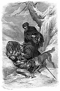 Augustinian canons and their St Bernard dogs from the hospice of Great St Bernard, Switzerland, rescuing a traveller collapsed in the snow. Founded by St Bernard of Menthon (923-1008). Copperplate engraving