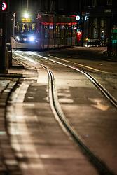 01JAN21 An Edinburgh Tram heads towards Princes Street, Edinburgh on Hogmanay.