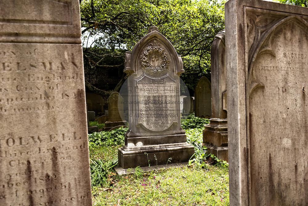 The cemetery for Charleston born members of the Saint Philips Episcopal Church along Church Street in historic Charleston, SC.